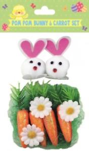 Easter Pom Pom Bunny & Carrot Decoration Set Crafts/Bonnet/ Card Making