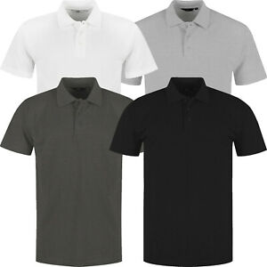 Mens Polo Shirts Short Sleeve Premium Pique Regular Fit Work Casual Plain Top