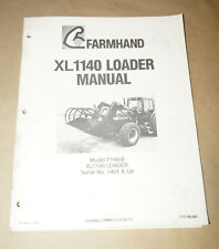 1991 Farmhand XL1140 Loader Model F140-B Owner's Manual P/N 1PD165