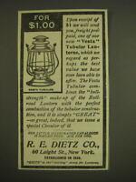 1899 R.E. Dietz Vesta Tubular Lanterns Advertisement - For $1.00