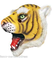 Mens Ladies Tiger Rubber Face Mask Animal Halloween Fancy Dress Costume Outfit