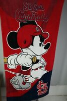"St Louis Cardinals Mickey Mouse Towel Disney Emblem Beach Towel MLB 30"" x 60"" T3"
