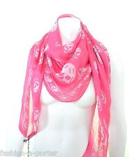 ALEXANDER McQUEEN PINK & SILVER SKULL SCARF BOLD COLOURS PERFECT GIFT BNWT SILK