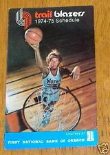 portland trail blazers pocket schedule 1974-1975 NBA