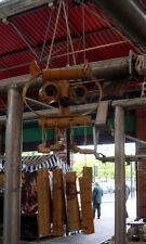 WOODEN BAMBOO OWL WIND CHIMES GARDEN HAND MADE BRAND NEW UK DISPATCH
