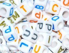100 un. 7 Mm Cubo Blanco + Colorido Letras/alfabetos abalorios acrílicos