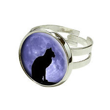 Black Cat Moon - Halloween - Silver Plated Adjustable Novelty Ring
