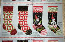 "S'Noel Leopard & Zebra Skin Snowmen Stocking Sock Christmas Fabric 23""  #9405"