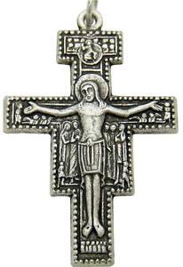 "San Damiano Pectoral Crucifix Pendant Silver Plate Small Cross 1 1/4"" Italy"