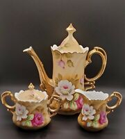 Vintage Lefton China Heritage Tea Set Rose Coffee Pot Creamer Sugar 1950's MCM