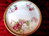 ANTIQUE C.S. PRUSSIA PLATE WITH PINK ROSES, GOLD BAND