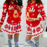 Women Merry Christmas O-Neck Snowflake Elk Print Xmas Long Sleeve Mini Dresses