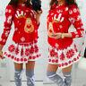 Women Merry Christmas O-Neck Snowflake Elk Print Xmas Long Sleeve Mini Dress