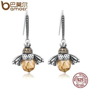 Bamoer Authentic .925 Sterling Silver Hook Earrings & Cute Bee Dangle For Women