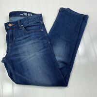 Gap 1969 Womens Real Straight Jeans Size 27 Medium Wash Blue Denim Stretch Pant
