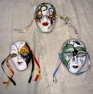 Vintage Porcelain Hand Painted  Face Masks, Set Of 3