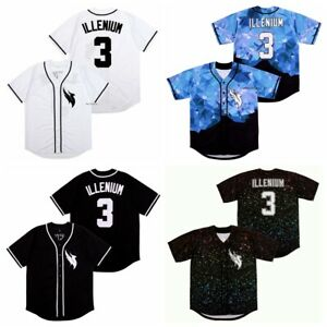 Singer Illenium #3 Baseball Jersey Button Down Hip Hop Men's Shirt Stitched