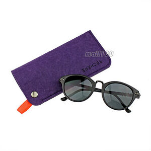 Felt Reading Glasses Case Sunglasses Soft Pouch Unisex Sleeve Bag Purple Grey