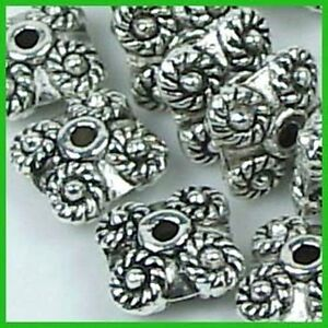 20 Antique Silver Pewter Square Saucer Rondelle beads