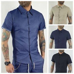 Camicia uomo sartoriale casual Collo Coreana Manica Corta Elastica Slim Fit
