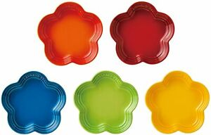 Le Creuset Flower Plate Dish Bright Rainbow 5 Color Set Japan Limited Tracking#