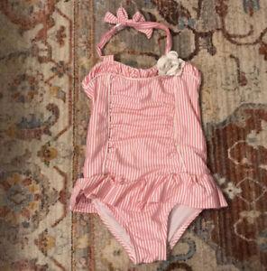 JANIE AND JACK Girls Pink Seersucker Swimsuit 2T Halter Bathing Suit One Piece