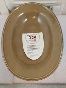 (Mushroom Brown) - Rachael Ray Cucina Dinnerware Oval Serving Bowl, 30cm , NWT