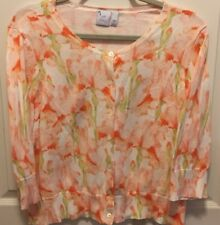 J. Jill Orange Knit Cardigan Sweater Floral Delight In Details Large Petite