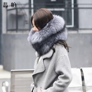100% Rea silver Fox Fur Collar double-sided whole skin Luxury Fluffy Fur scarf