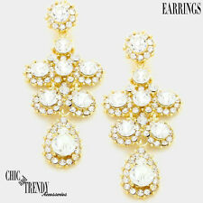 Earrings Prom Wedding Formal Chunky Jewelry Radiant Clear On Gold Glass Crystal