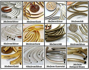 Curved Tube Noodle 10 Pcs Brass Metal Beads Choose Size and Color