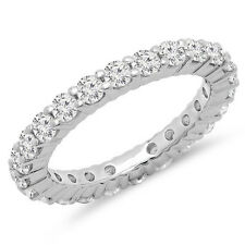 1.00 Carat 14K White Gold Diamond Ladies Eternity Stackable Ring Band (Size 9)