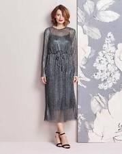 Pleated midi dress with tie belt uk size 14 bnwt whr29