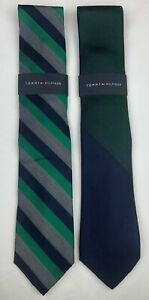 2 PACK New Men's Tommy Hilfiger Green/Navy Plaid & Geo Ties 2 Pack (One Size)