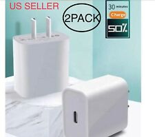 2Pack 18w USB-C Power Adapter Wall Charger for Apple iPhone 11Pro Max Xs iPadAir