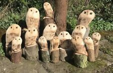 S Carved Wooden Owl Decoration Garden Statue Chainsaw Carving Natural Wood Xmas