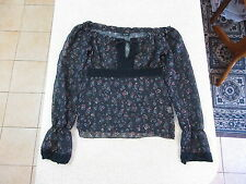 Women's BARDOT Size 8 AU Long Sleeve Sheer Top Black Floral ExCon Poly Lace Crop