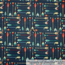 BonEful FABRIC FQ Cotton Quilt Flannel Navy Blue White Red American Indian Arrow
