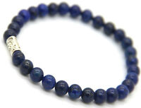 """Men's 6mm Natural Lapis Lazuli Gemstone Tube Round Loose Beads Bracelet 7.5"""""""