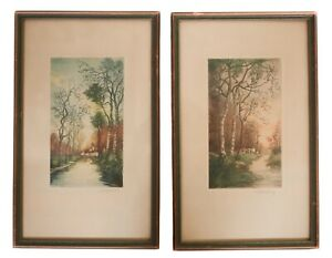 Pair of Continental Landscape Color etching and aquatints signed Charlin