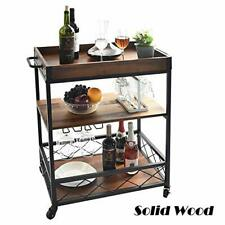 charaHOME Solid Wood Kitchen Serving Carts Rolling Bar Cart with 3 (Solid Wood)