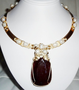 Ruby Necklace CERTIFIED 325ct Natural Ruby Gemstone, Pearls, Swarovski Crystals