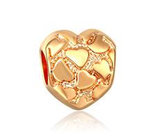 18K gilded Love fit European Charm Bracelet pendant Chain DIY #F327