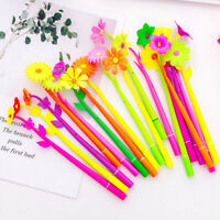 4Pcs Silicone colorful cute flower gel pens stationery office school supplies