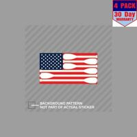 Canoe Paddle American Paddle Striped Kayak 4 Stickers 4x4 Inch Sticker Decal