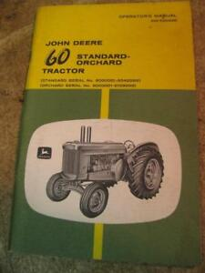 John Deere 60 Standard Orchard Tractor Operators Manual