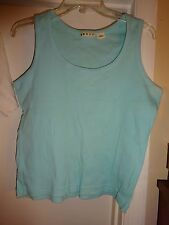 Ladies Light Blue Sleeveless Tank Top Cami Camisole Shell Cotton Size Large L@@K