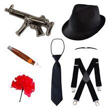 Kids Gangster Fancy Dress Set (Hat, Tie, Braces, Moustache, Gun, Cigar & Flower