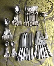 """CHRISTOFLE CHINON SILVERPLATED FLATWARE SET 49 PCS 12 PEOPLE """"EXCELLENT"""""""
