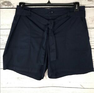 Style & Co SZ 8 Shorts Belted Navy Blue Mid-Rise Pockets Elastic Waist Womens